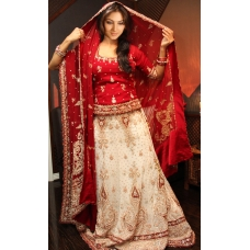 Modern White and Red Lengha: Ref 569