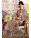 Ivory, Gold &amp; Green Indian Bridal Lengha: Ref 561