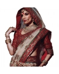 Maroon & Ivory Indian Bridal Saree: Ref 705