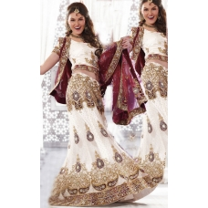 White, red and maroon Indian Bridal Lengha: Ref 562