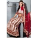 White and Red Lengha - 8x Different Colour Coli Dupata: Ref 801