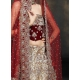 Red & Ivory Indian Bridal Lengha: Ref 522