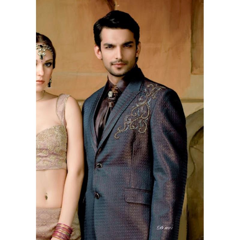 Mens Wedding Suit Indo-Western Royal Black Plum Ref: E215