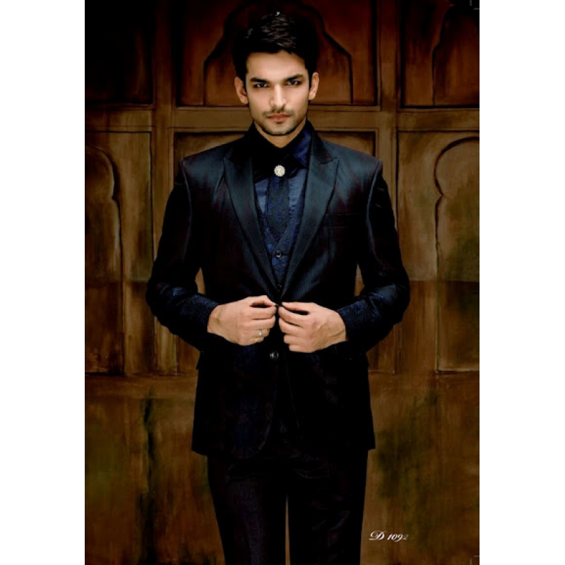 Mens Wedding Suit Indo-Western Showstopper Black Navy Ref: E219