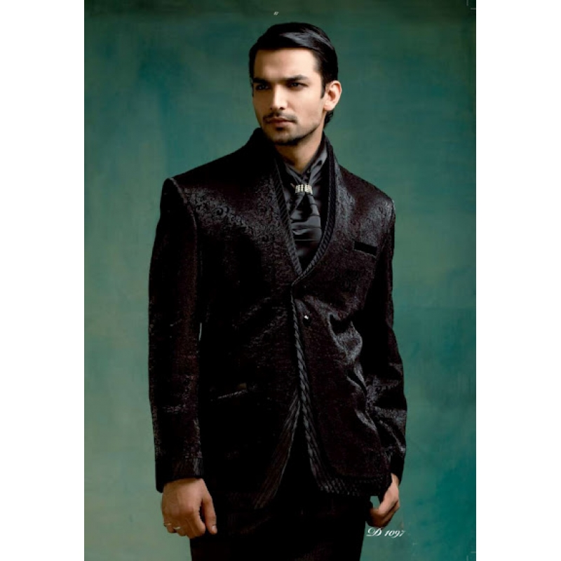 Mens Wedding Suit Indo-Western Black Beauty Ref: E222