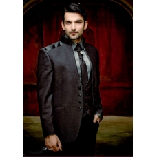 Mens Wedding Suit Indo-Western Black Grey Ref: E225