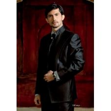 Mens Wedding Suit Indo-Western Black Shine Ref: E226