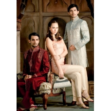 Mens Wedding Suit Indo-Western Maroon and Light Blue: Ref E201